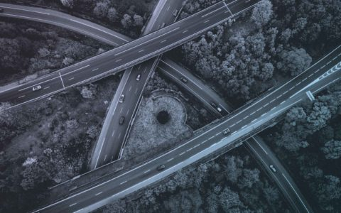 aerial view of multiple highways crossing