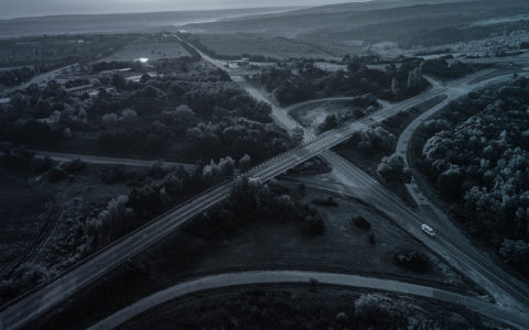 aerial view of highways in landscape